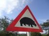 Verkehrsschild Südafrika - Achtung vor Hippos / Nilpferden