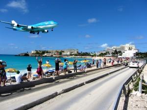 Landung St. Maarten Airport KLM Boeing